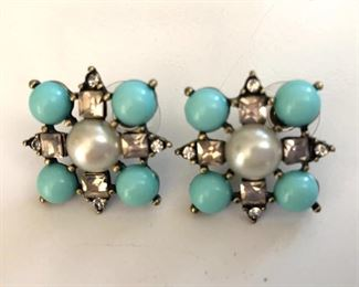 """$10 Faux turquoise and pearl earrings. 1""""L; 1""""W"""