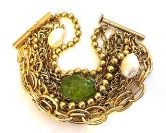 """$60 Oscar de la Renta chunky  multi strand bracelet.  8""""L"""