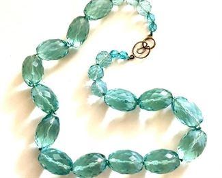 "$25   Blue stone neckace with silver tone clasp.  21""L"