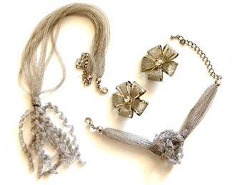 "$30 set very delicate cloth necklace (19""L), bracelet (adjustable), earrings set (1.5""L)."