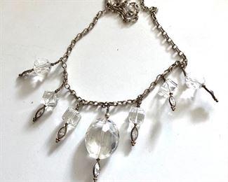"$15 Necklace silver tone with white dangles.  18""L"