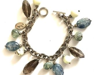 """$40 Sterling silver with stone charms bracelet.  8""""L"""