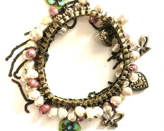 """$22 Stretchy charm bracelet with faux pearls and charms. 7""""L"""