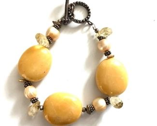 """$15 Bracelet with pearls and yellow stones with silver: 8""""L"""