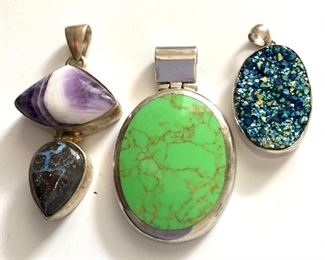 """$50 each Sterling silver pendants.  2 largest: 2""""L; small: 1.5""""L Green pendant SOLD"""