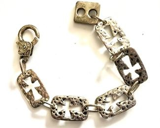 "$35 Panel bracelet with open cross design.  Size: 7""L"