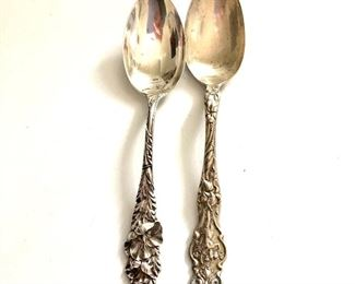 $30 each sterling silver spoons with ornate handles