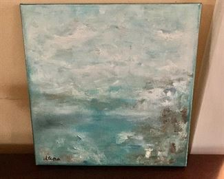 """$120 - Atina signed oil painting on canvas.  12"""" x 12""""."""