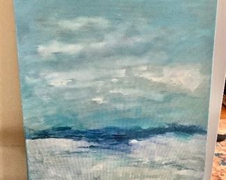 """$150 - Atina signed ocean oil painting.  20"""" H x 16"""" W."""