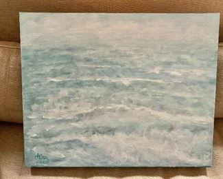 """$150  - Atina signed ocean oil painting on canvas.  16"""" H x 20"""" W."""