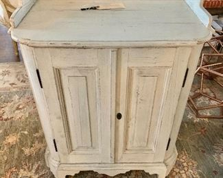 """$250 - Vintage, shabby chic cabinet with key - Made with recycled wood.  34"""" H, 26.5"""" W, 17"""" D."""