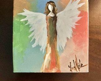 "$75 ""Bright Angel"" painting - 5"" H x 5"" W."