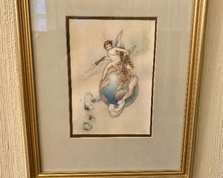 """$95 Warwick Goble , 1910 English 1862-1943  """" Water Babies """" framed print of watercolor.   13"""" H x 10.5"""" W."""