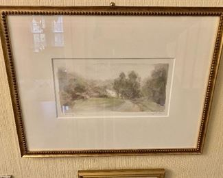 """$150 -  Jann Daughdrill """" Turkey Run"""" signed watercolor  on paper  late 20th, early 21st century.   16"""" H x 21"""" W."""