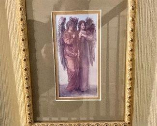 """$75 - Framed angel print #1.  10.5"""" H x 8"""" W."""