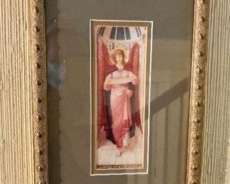 """$75 - Framed angel print #2.  10.5"""" H x 7"""" W."""
