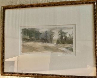 "$150 Jann Daughdrill "" Vanishing Road "" signed watercolor.   16"" H x 21"" W."