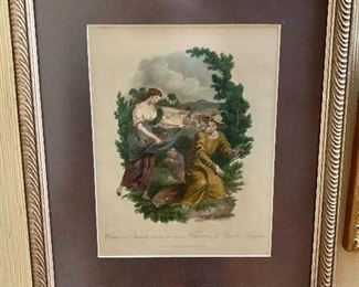 """$135 Nuttal and Fisher of Liverpool Early 19th C print  """"Wisdom and Activity collecting the various treasures of the vegetable kingdom.""""  16"""" H x 14"""" W."""