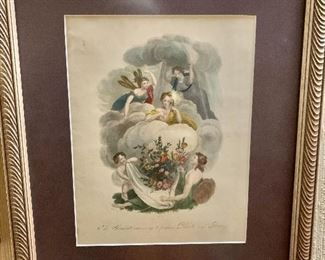 """$135 Nuttal and Fisher of Liverpool - Early 19th C print """"The Elements convening to produce plants and flowers"""".  16"""" H x 14"""" W."""