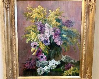 "$795 Caroline Bouffay French 19th C.  Floral painting. 28"" H x 24.5"" W."