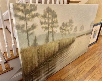 "$1,950 Brent Smith ""Foggy Morning"" contemporary oil/acrylic on canvas.  48"" H x 72"" W."