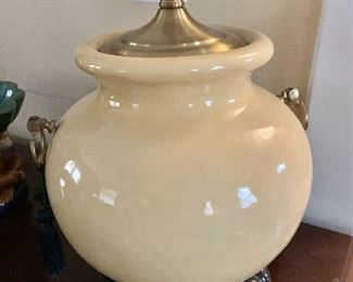 "$175 - Wildwood glazed lamp with handles.  25"" H, 11 "" diam."