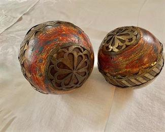 """$45 - Pair of balls decor.   Left: 6.5"""" H, 6"""" diam. Right: 5"""" H, 5"""" diam."""