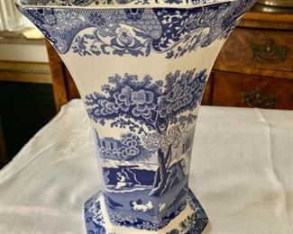 """$95 Spode blue and white vase.   10.25"""" H, 8"""" diam."""