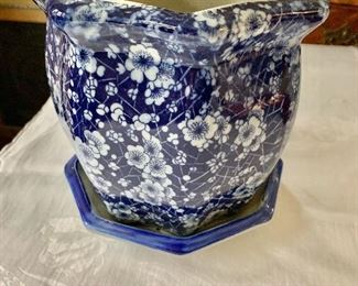 """$40 Floral blue and white planter vase with dish.   7"""" H, 7"""" diam."""