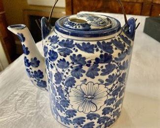 "$75 - Blue and white tea pot -  7"" H, 4.5"" diam, 6.5"" W."