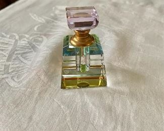 """$25 - Crystal perfume bottle with rainbow reflections -  2.5"""" H, 1.75"""" W, 1.75"""" D."""