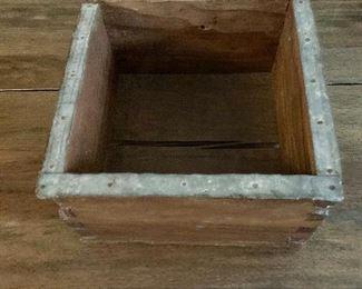 """$25  Vintage or antique wood  box.   6"""" H, 9.75"""" W, 9.75"""" D."""