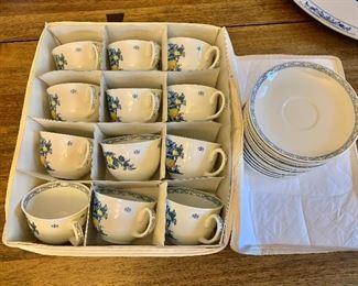 """$150 - 12 teacups each 3.75"""" H, 2.5"""" diam.  14 saucers each 6"""" diam."""
