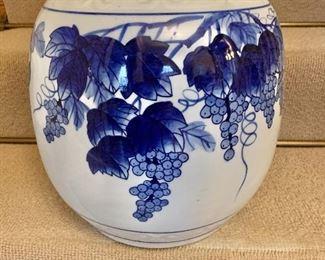 "$120  - Abigail's blue and white planter 12.5"" H, 11"" diam."