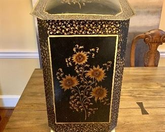 "$120 -  Decorative metal floral hamper/trash receptacle - 24"" H, 14"" W, 14"" D."