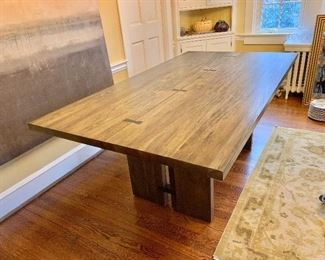 """$850 - Crate & Barrel Monarch 76"""" Dining Table - Solid walnut base with Shitake color finish.  Handmade with """"Breathing Joinery""""  without the use of glue or nails - 30.25"""" H, 76"""" L, 42"""" W."""