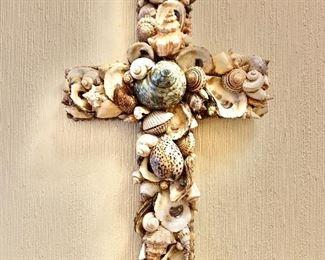 """$120 Ornate seashell designed cross.   26"""" H, 13.5"""" W, 5"""" D."""