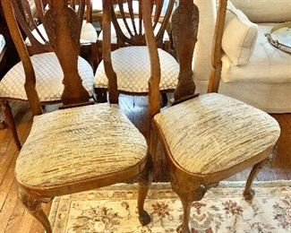 """$240- Pair cushioned chairs. 42"""" H, 19"""" W, 17"""" D, seat at 20"""" H."""