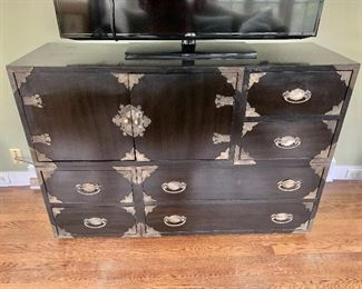 """$395 - Thomasville black chest with metal accents - 37"""" H, 54"""" W, 18"""" D."""