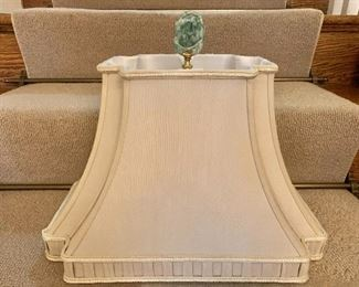 """$60 Lamp shade with stone finial - 14"""" H, 17"""" W, 9.5"""" D."""
