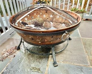 """$120 - Copper finish fire pit with spark screen.  20""""H; 36""""diam"""
