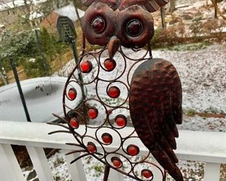 """$75   - Owl garden stake.  10""""L; 14""""H.  With pole: 29""""L"""