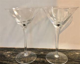 """$20 - Pair martini glasses. Each 7.5"""" H, 4.5"""" diam."""