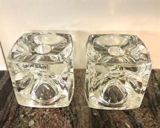 """$40 - Pair of cube candle holders - Each 3.5"""" x 3.5"""" x 3.5""""."""