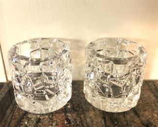 """$50 - Pair of Tiffany votive candle holders - Each 3.5"""" H, 3.25"""" diam."""