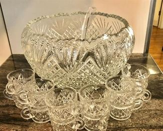 """$75 Glass Punch bowl with 12 cups and scoop handle.  Punch bowl:  8.25"""" H, 13.5"""" diam.  Cups: each 2.25"""" H, 3"""" diam"""