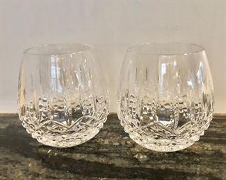 "$60 - Pair Waterford stemless wine glasses - Each 4.25"" H, 4.25"" diam."