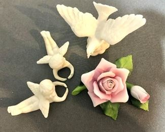 """$25 LOT of angels, dove, and rose statues.   Angels: each 2"""" H, 4"""" L, 2.5""""W.  Dove: 4"""" H, 5"""" W, 3"""" D.  Rose: 5"""" H, 4"""" W, 2.5"""" D."""