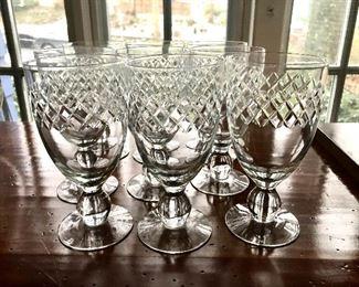 "$30 - Set of 9 wine glasses - Each 6.25"" H, 3"" diam."