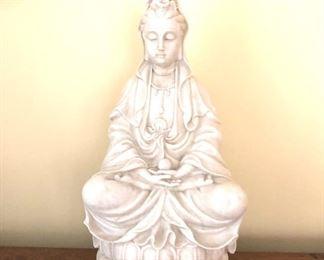 """$45 - Porcelain sitting in meditation pose figure 12.5"""" H, 7"""" W, 4.5"""" D."""